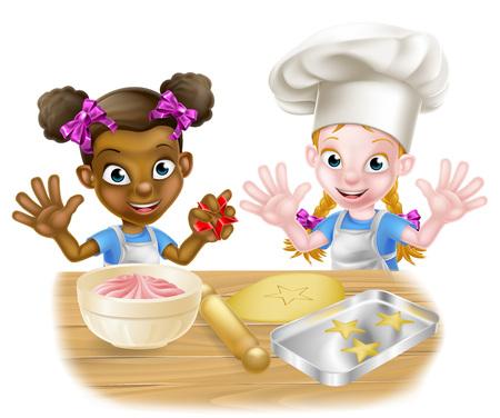 Cartoon Girl Chefs Kochen