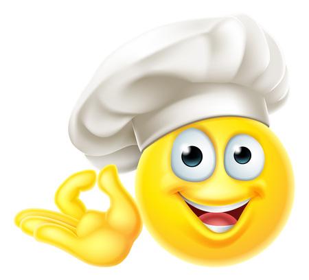 Emoji Chef cocinero gesto perfecto de dibujos animados