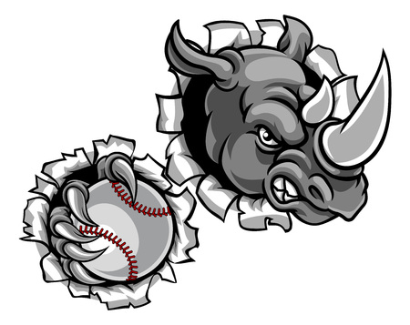A rhino baseball animal sports mascot holding a ball and breaking through the background with its claws Standard-Bild - 107656338