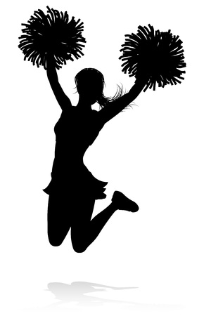 Detailed silhouette cheerleader holding pompoms Stock Illustratie
