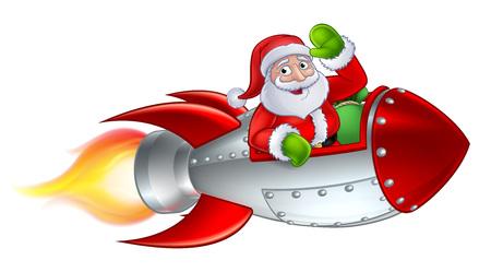 Santa Claus Christmas cartoon character riding in rocket ship sleigh waving