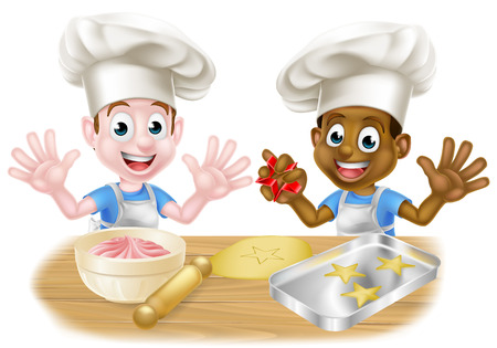 Chicos de dibujos animados cocinando
