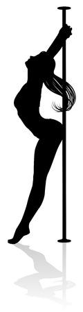 Pole Dancing Woman Silhouette Ilustrace