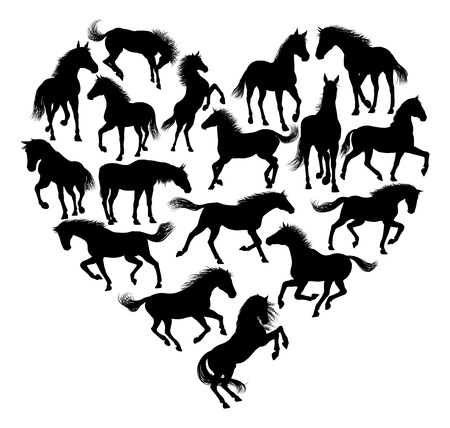 Horse Silhouette Heart