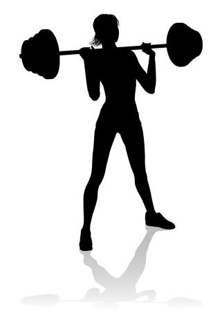 Gym Frau Silhouette Langhantel Gewichte