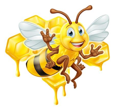 Bee Cartoon Character With Honey Banco de Imagens - 107952687