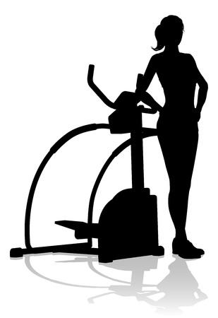 Gym Woman Silhouette Elliptique Cross Fit Machine