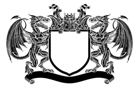 Dragon Emblem Shield Escudo heráldico Escudo de armas Ilustración de vector