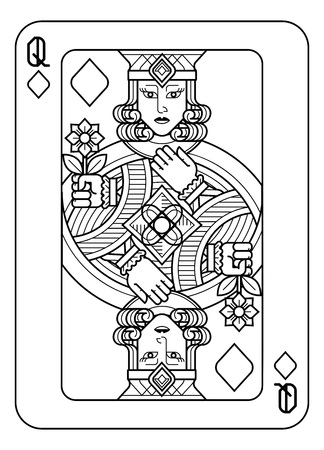 Playing Card Queen of Diamonds Black and White