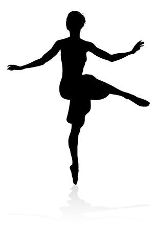 Dancing Ballet Dancer Silhouette Foto de archivo - 107952701
