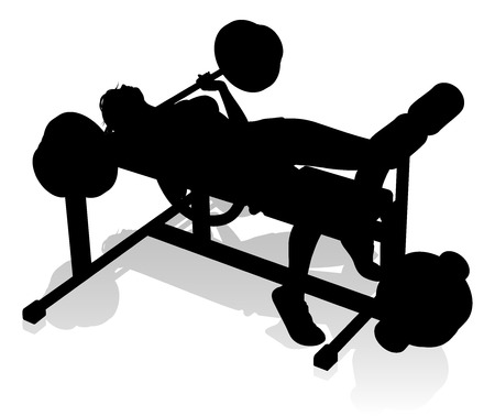 Gym Woman Silhouette Weights Bench Barbell