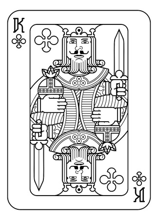 Playing Card King of Spades Black and White