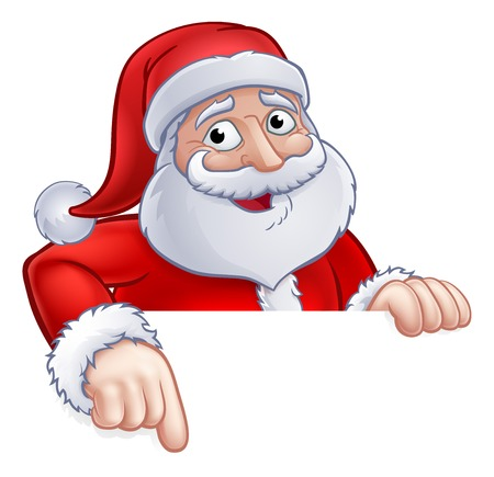 Santa Claus Christmas cartoon character above a sign pointing at it