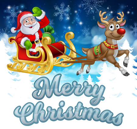 Santa Sleigh Merry Christmas Cartoon Background Stock Photo