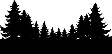Una silueta de fondo de pie de página de árboles de hoja perenne de Navidad