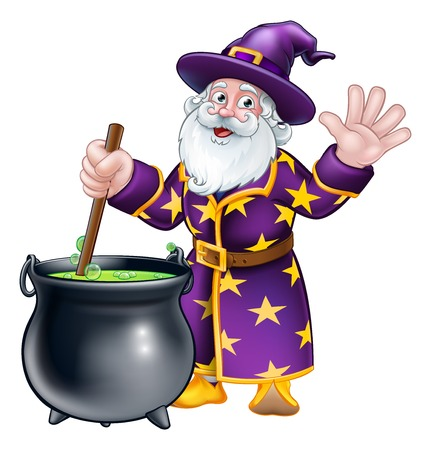 A wizard cartoon character stirring a cauldron pot full of magic potion Foto de archivo