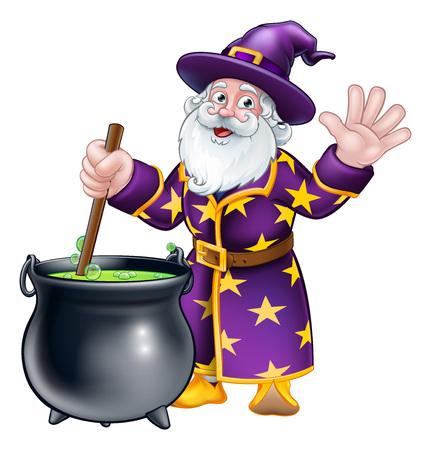 Wizard and Cauldron Cartoon Character Illustration