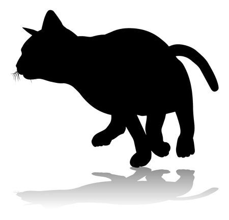 Silhouette Cat Pet Animal Stock Illustratie