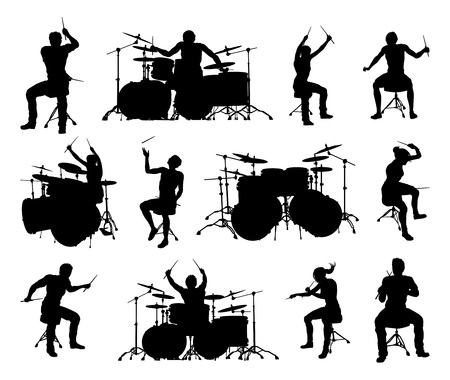 A set of high quality detailed drummer and drum kit musician silhouettes
