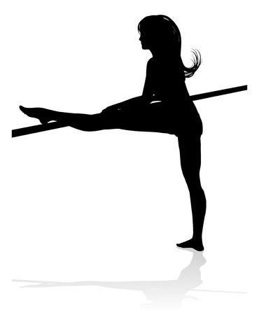 Woman Dancer Stretching Silhouette Ilustração