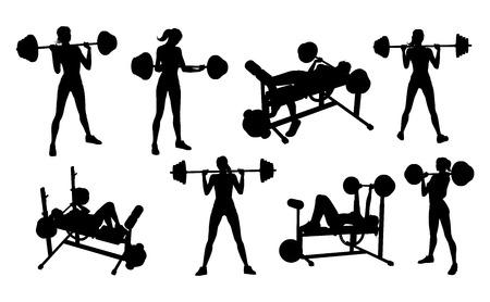 Conjunto de siluetas de mujer de gimnasio fitness