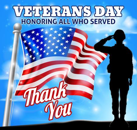 Soldado del Día de los Veteranos saludando a la bandera americana Ilustración de vector