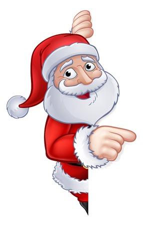 Santa Claus Christmas cartoon character peeking around a sign and pointing 일러스트