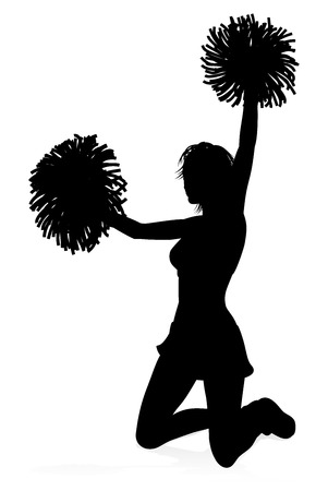 Detailed silhouette cheerleader holding pompoms Illustration