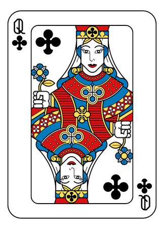 A playing card Queen of Clubs in yellow, red, blue and black from a new modern original complete full deck design. Standard poker size.