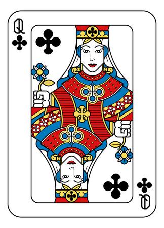 Un naipe Queen of Clubs en amarillo, rojo, azul y negro de un nuevo y moderno diseño de baraja completa original. Tamaño de póquer estándar.