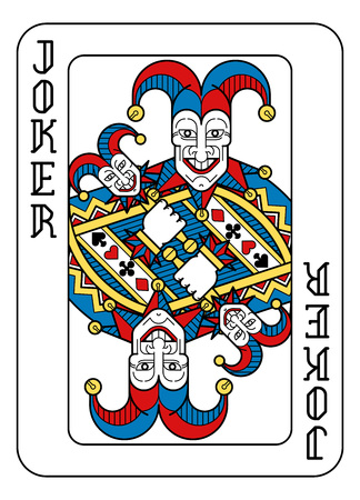 A playing card Joker in yellow, red, blue and black from a new modern original complete full deck design. Standard poker size.
