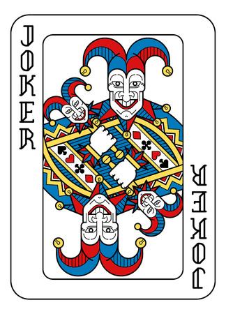 Un Joker de naipes en amarillo, rojo, azul y negro de un nuevo y moderno diseño de baraja completa original. Tamaño de póquer estándar.