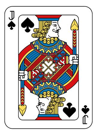 Eine Spielkarte Jack of Spades in Gelb, Rot, Blau und Schwarz aus einem neuen modernen Original-Komplettdeck-Design. Standard Pokergröße.