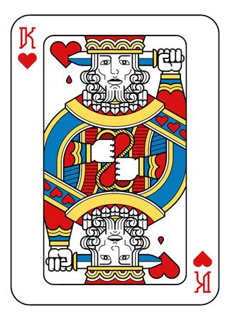 Ein Spielkartenkönig der Herzen in Gelb, Rot, Blau und Schwarz aus einem neuen modernen Original-Komplettdeck-Design. Standard Pokergröße.