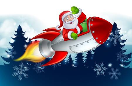 Santa Claus cartoon character in his space rocket sleigh flying over a Christmas winter wonderland snowy landscape