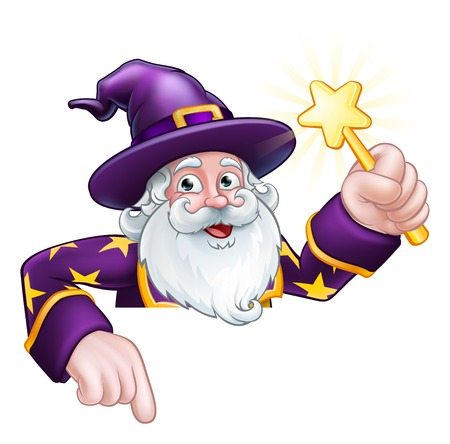 A wizard merlin magician Halloween cartoon character peeking over a sign pointing and holding a wand Vector Illustration