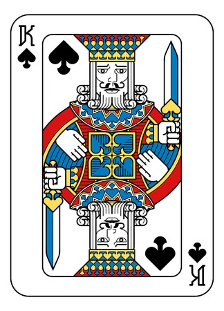 A playing card king of Spades in yellow, red, blue and black from a new modern original complete full deck design. Standard poker size. Çizim