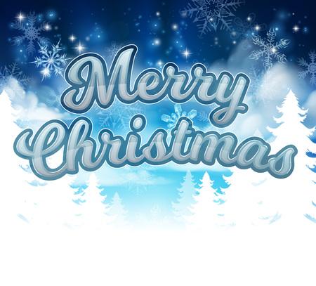 A Merry Christmas message with winter wonderland landscape and snowflakes cartoon graphic Ilustração Vetorial