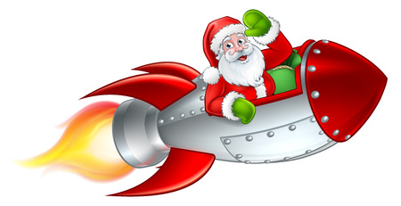 Santa Rocket Sleigh Christmas Cartoon vector illustration