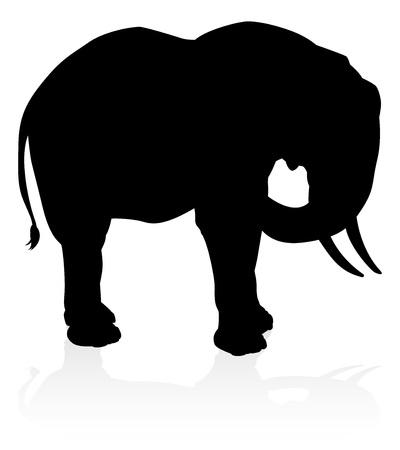 Elephant Safari Animal Silhouette vector illustration