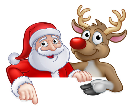 Santa Claus and Reindeer Christmas cartoon characters peeking over a sign and pointing