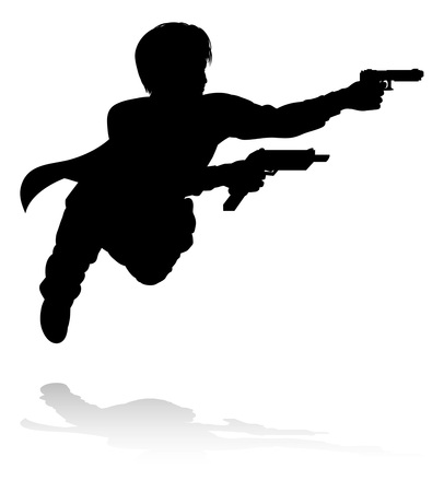 Action Movie Shoot Out Person Silhouette Ilustração
