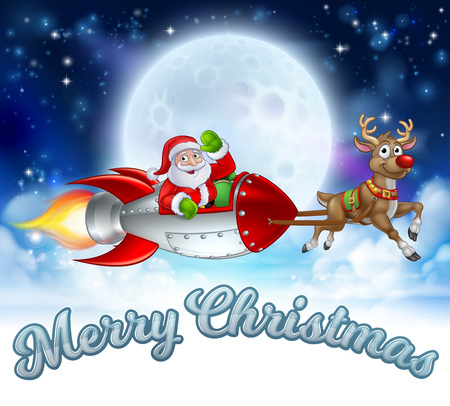 Santa Claus in a rocket sleigh pulled by reindeer cartoon with Merry Christmas message and winter landscape background