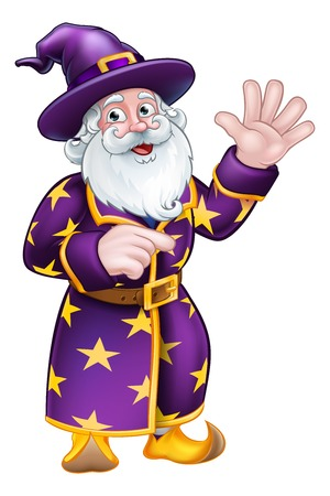 Wizard Pointing Cartoon Character