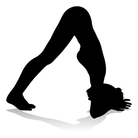 Woman Silhouette doing Yoga Pilates Pose