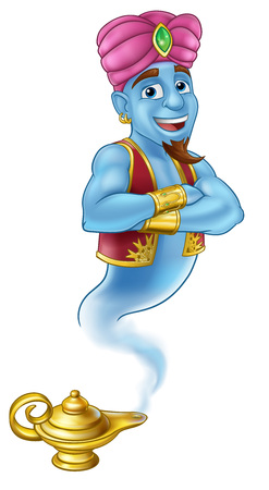 Genie Magic Lamp Aladdin Pantomime Cartoon Vettoriali