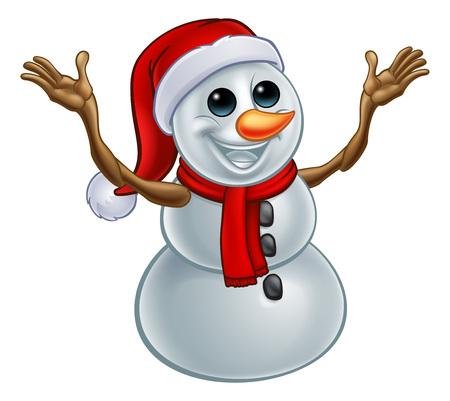 Snowman Christmas Santa Hat Cartoon Illustration