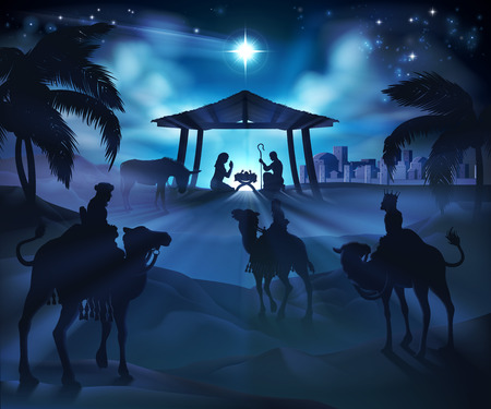 Christmas nativity scene, baby Jesus, Mary and Joseph in manger. Bethlehem in background. 3 Wise Men riding camels in silhouette to pay homage. The star above stable. Christian religious illustration. Ilustração