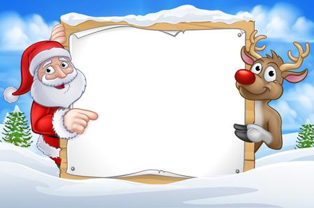 Babbo Natale e renne personaggi dei cartoni animati di Natale in una scena invernale che puntano a un cartello