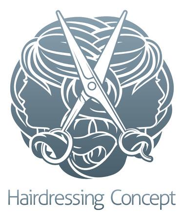 Hairdresser Hair Salon Stylist Concept Vetores